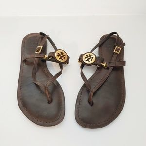 Tory Burch brown leather thong strappy sandals